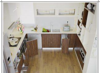 Thiết kế tủ bếp chữ U hiện đại gia đình cô Nga