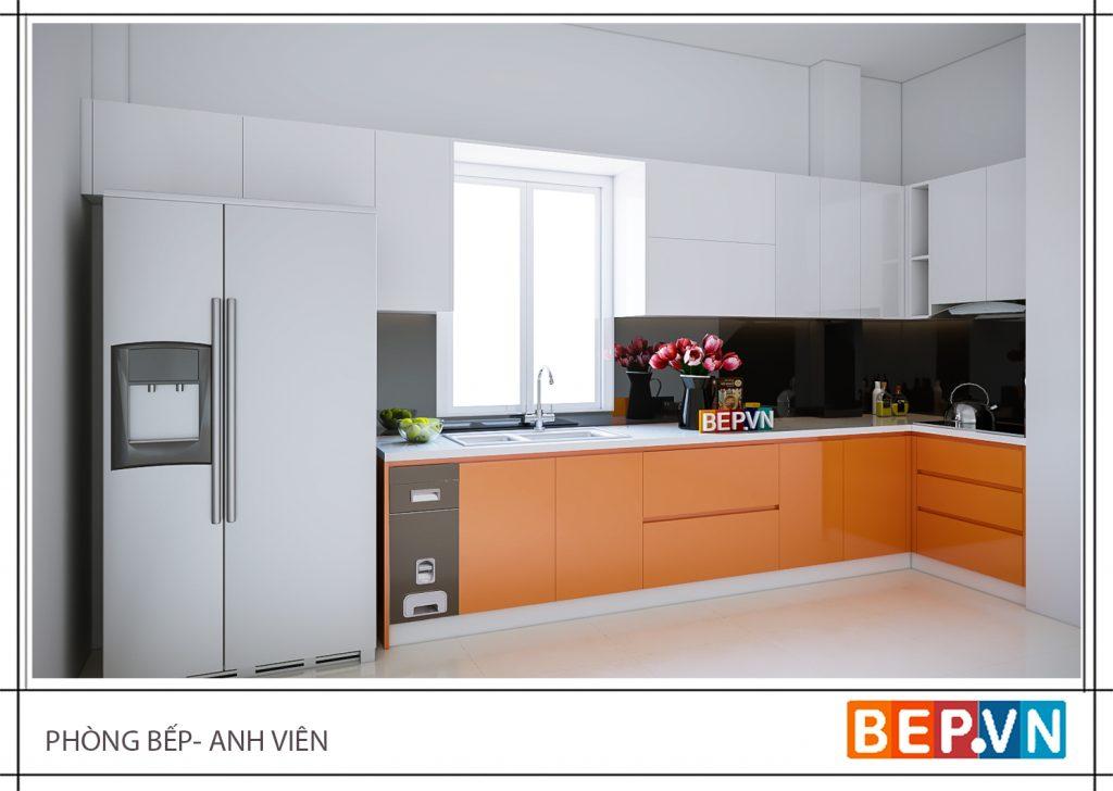 Thiết kế tủ bếp với gam màu cam chủ đạo