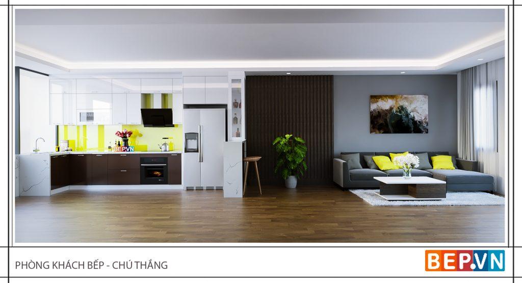 Thiết kế tủ bếp không còn vách ngăn với phòng khách