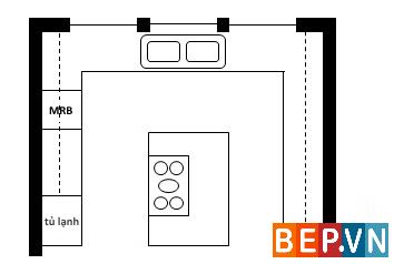 thiết kế tủ bếp đảo