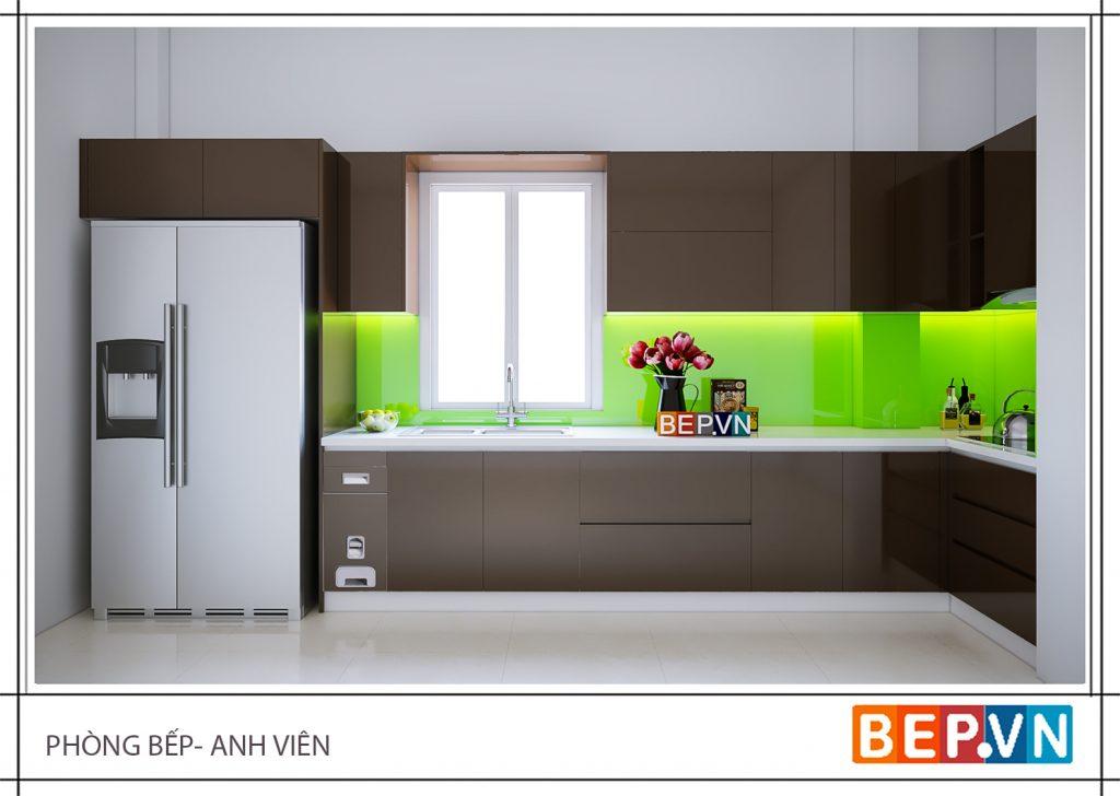 Thiết kế tủ bếp với gam màu xanh cây chủ đạo