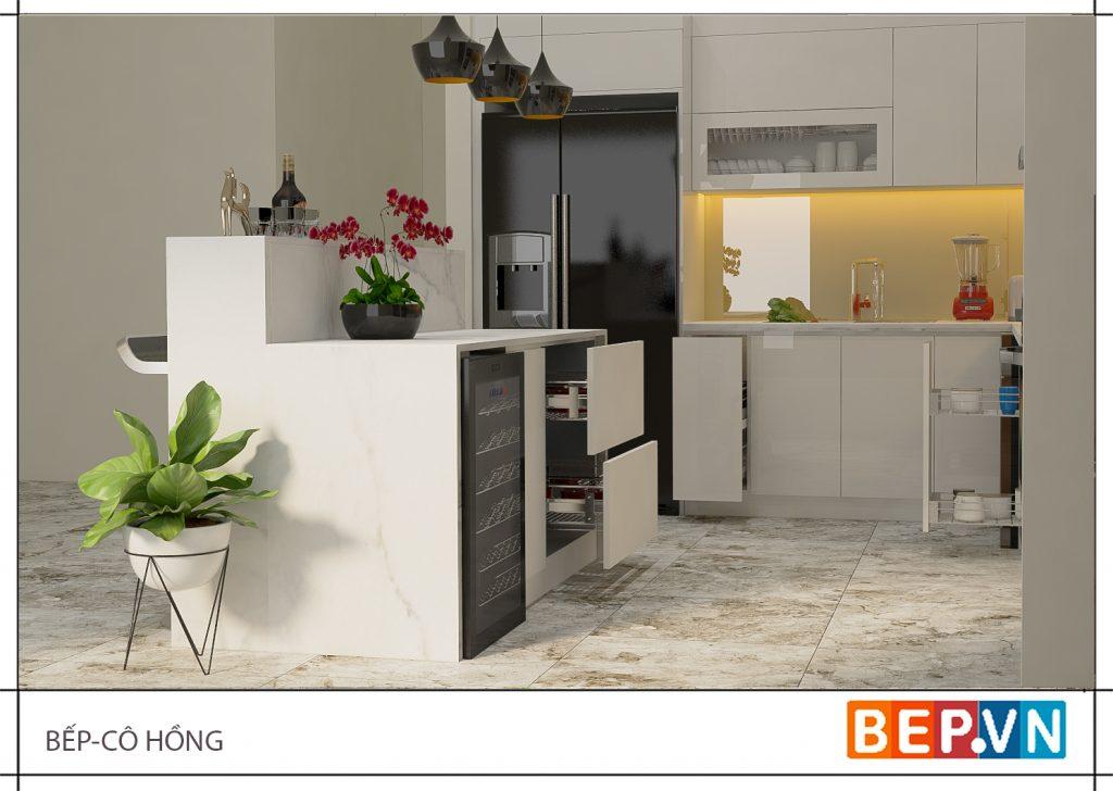 Tận dụng đảo bếp để lưu trữ, trang trí nâng tầm giá trị căn bếp gia đình bạn.