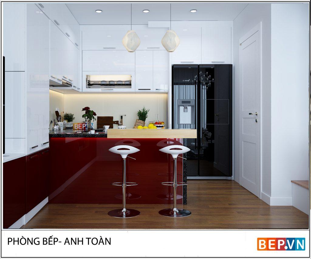 Mặc dù thiết kế nhà bếp có diện tích hạn chế nhưng với bàn đảo bếp nhỏ gọn và những chiếc ghế hài hòa. Đây là thiết kế bàn ăn hoàn hảo cho không gian này.