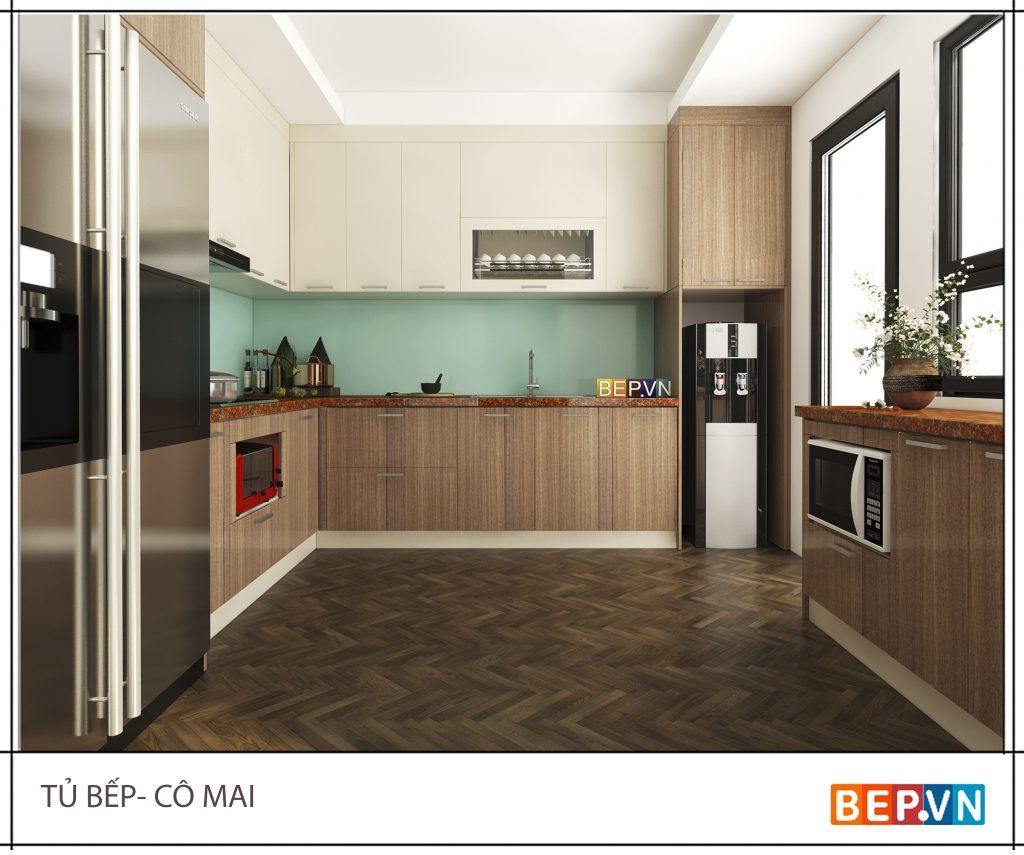 Thiết kế tủ bếp mộc mạc thô sơ