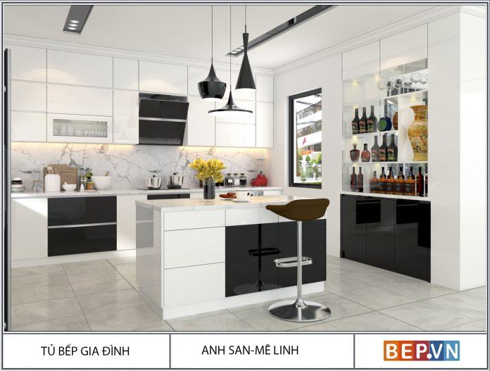 tủ bếp đẹp thiết kế thêm bàn đảo bếp