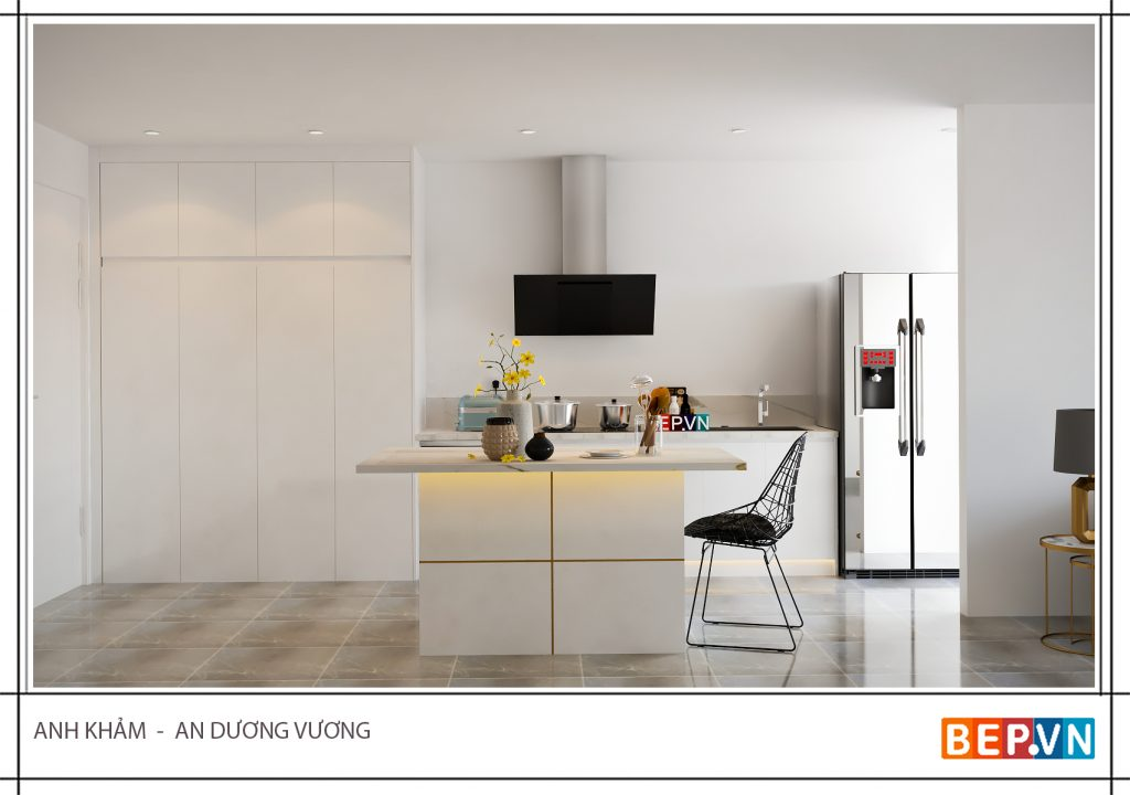 Một không gian bếp sang trọng hiện đại nhờ bàn đảo bếp hiện đại có chức năng của một bàn ăn.