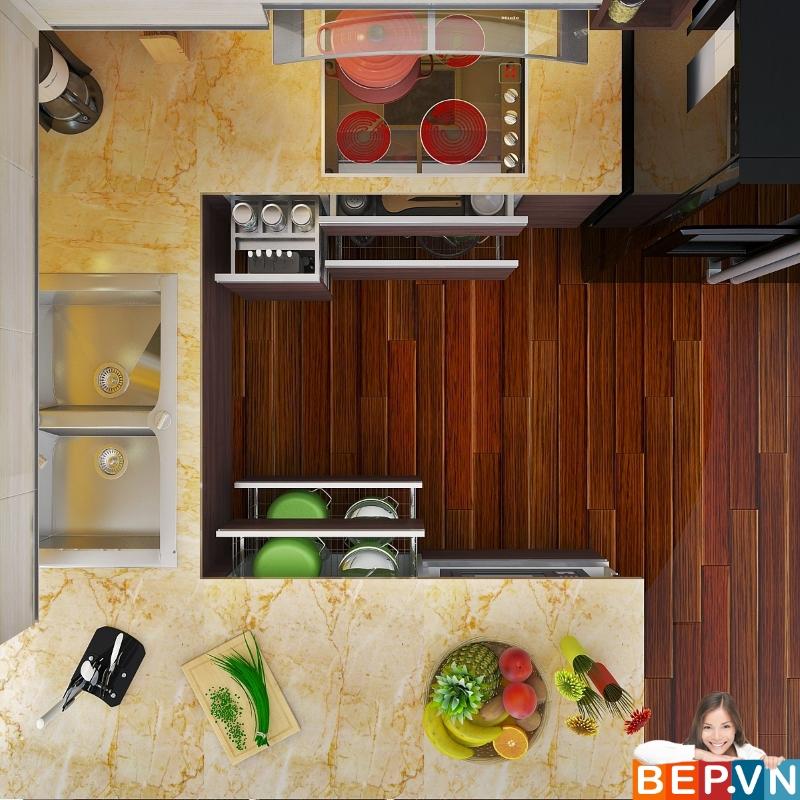 Thiết kế tủ bếp tích hợp nhiều chức năng hiện đại