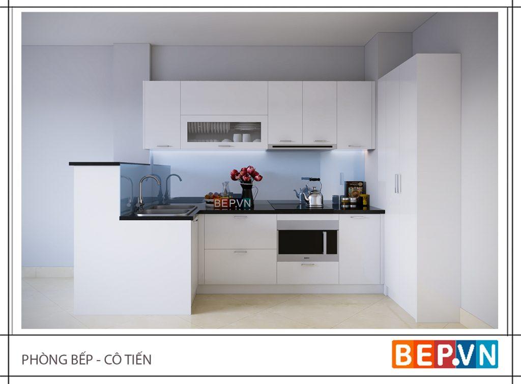 """Thiết kế tủ bếp phủ gam màu trắng khiến không gian bếp trộng """"rộng"""" hơn."""