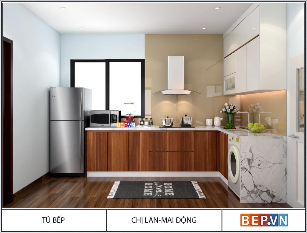 Thiết kế tủ bếp đơn giản mà không kém phần tiện nghi