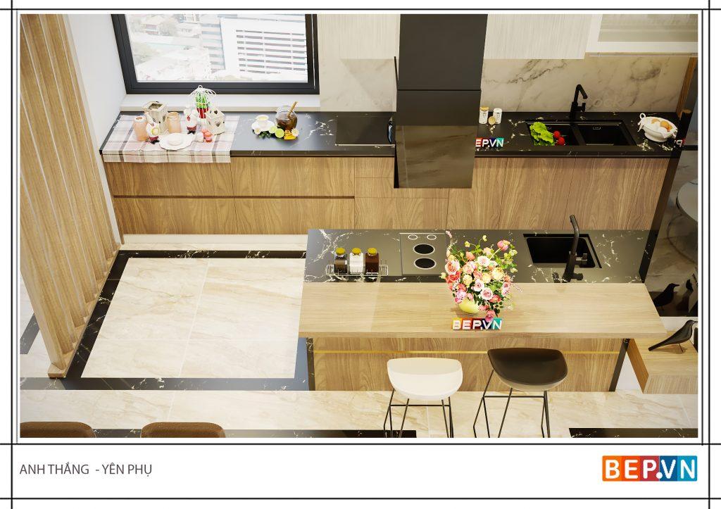 Bàn đảo bếp được tích hợp nhiều chức năng và chú trọng đầu tư sẻ trở thành không gian trải nghiệm tuyệt vời.
