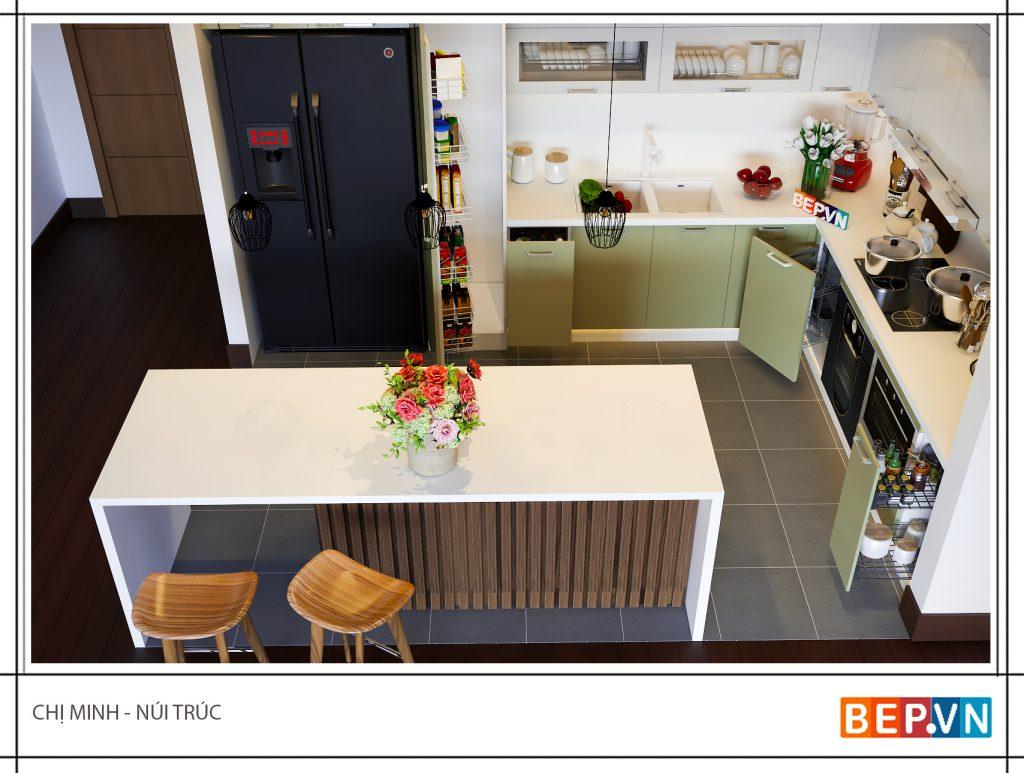 Thiết kế nhà bếp hoàn hảo với màu sắc và chất liệu hiện đại không thể thiếu bàn đảo bếp rộng rãi đa chức năng.