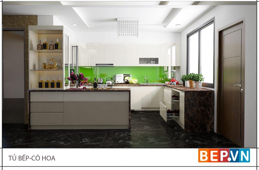 THiết kế nhà bếp tươi mới với màu xanh lá cây