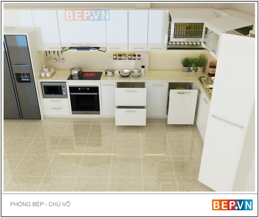 Thiết kế tủ bếp acrylic nhà chú Võ
