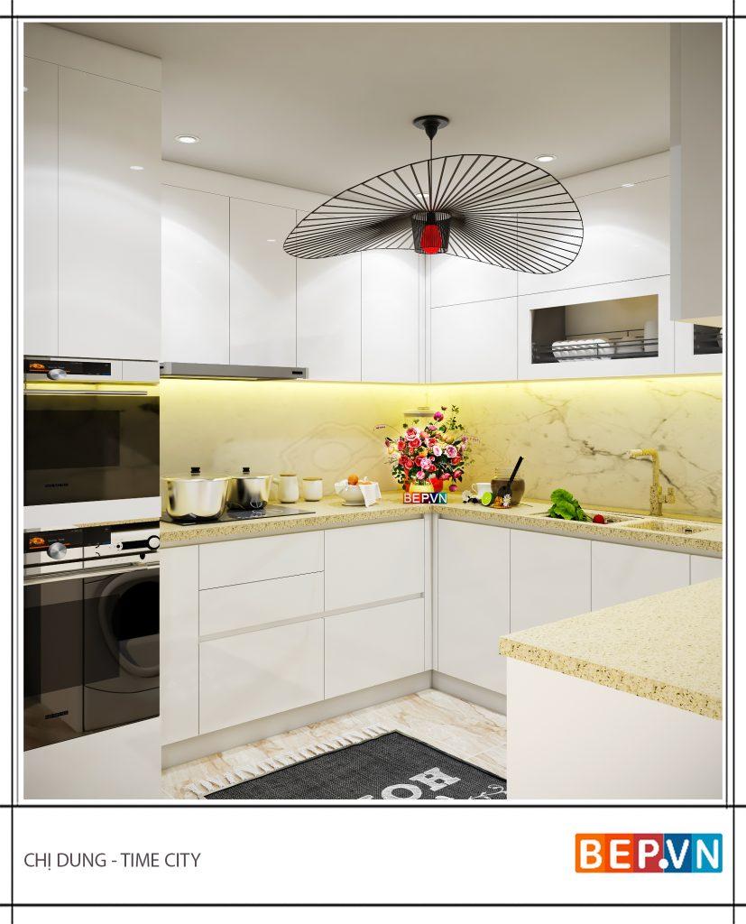Thiết kế tủ bếp chữ U hiện đại nhà chị Dung