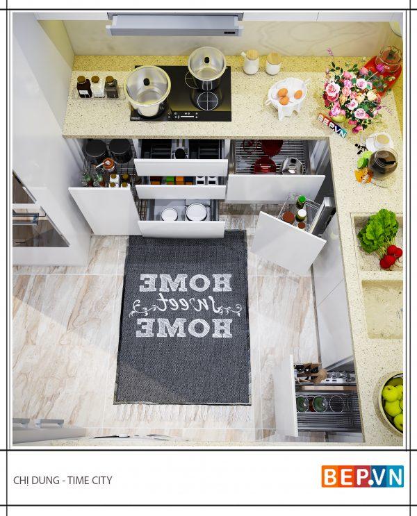 Tủ bếp chữ U hiện đại gia đình chị Dung