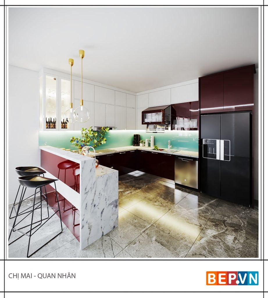 Thiết kế tủ bếp Acrylic chữ U gia đình chị Mai
