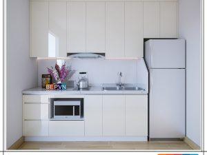 Tủ bếp Acrylic chữ I gia đình chị Hoa
