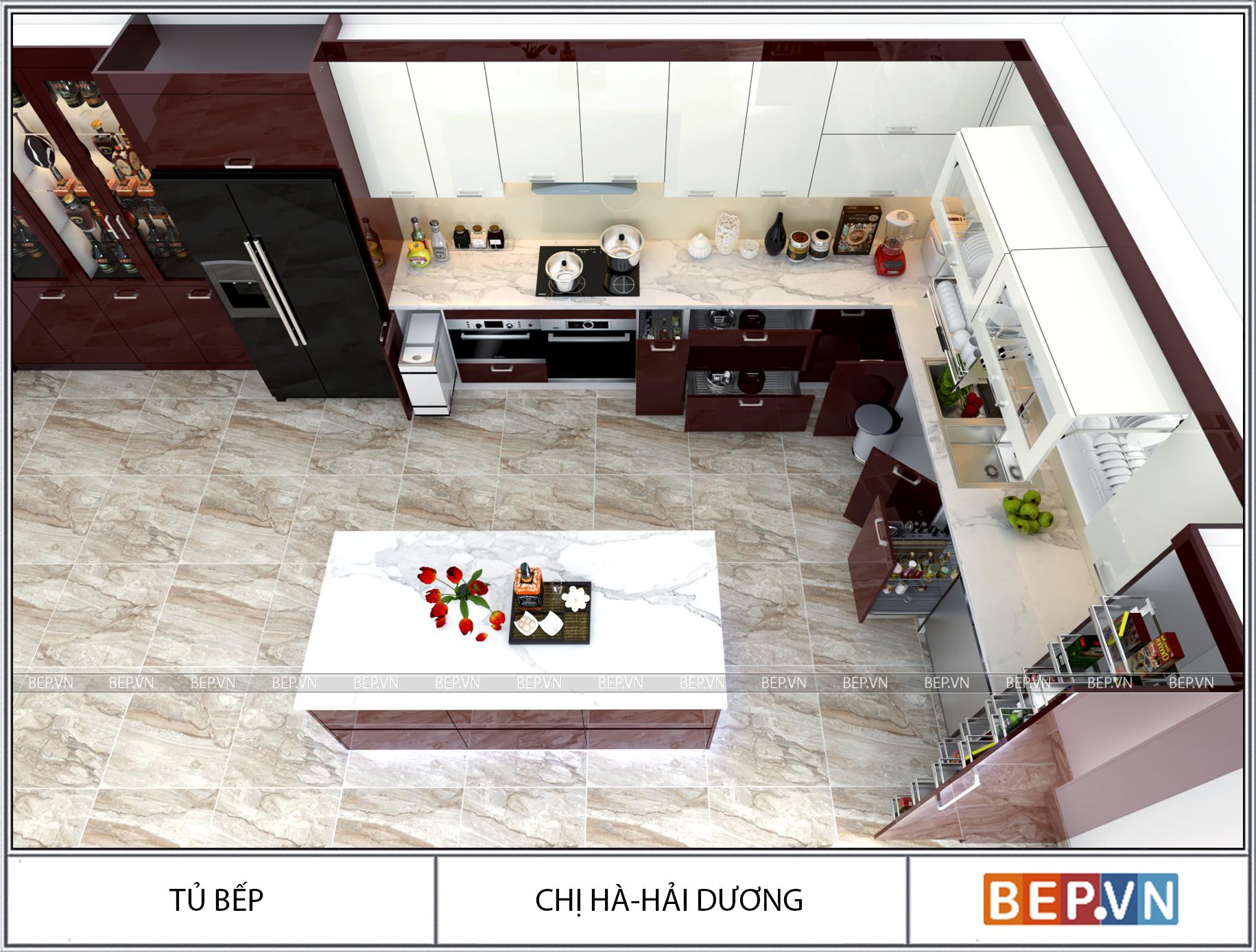 Thiết kế tủ bếp chữ L chị Hà