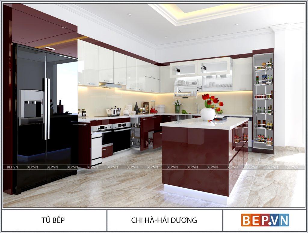 Thiết kế tủ bếp chữ L hiện đại gia đình chị Hà