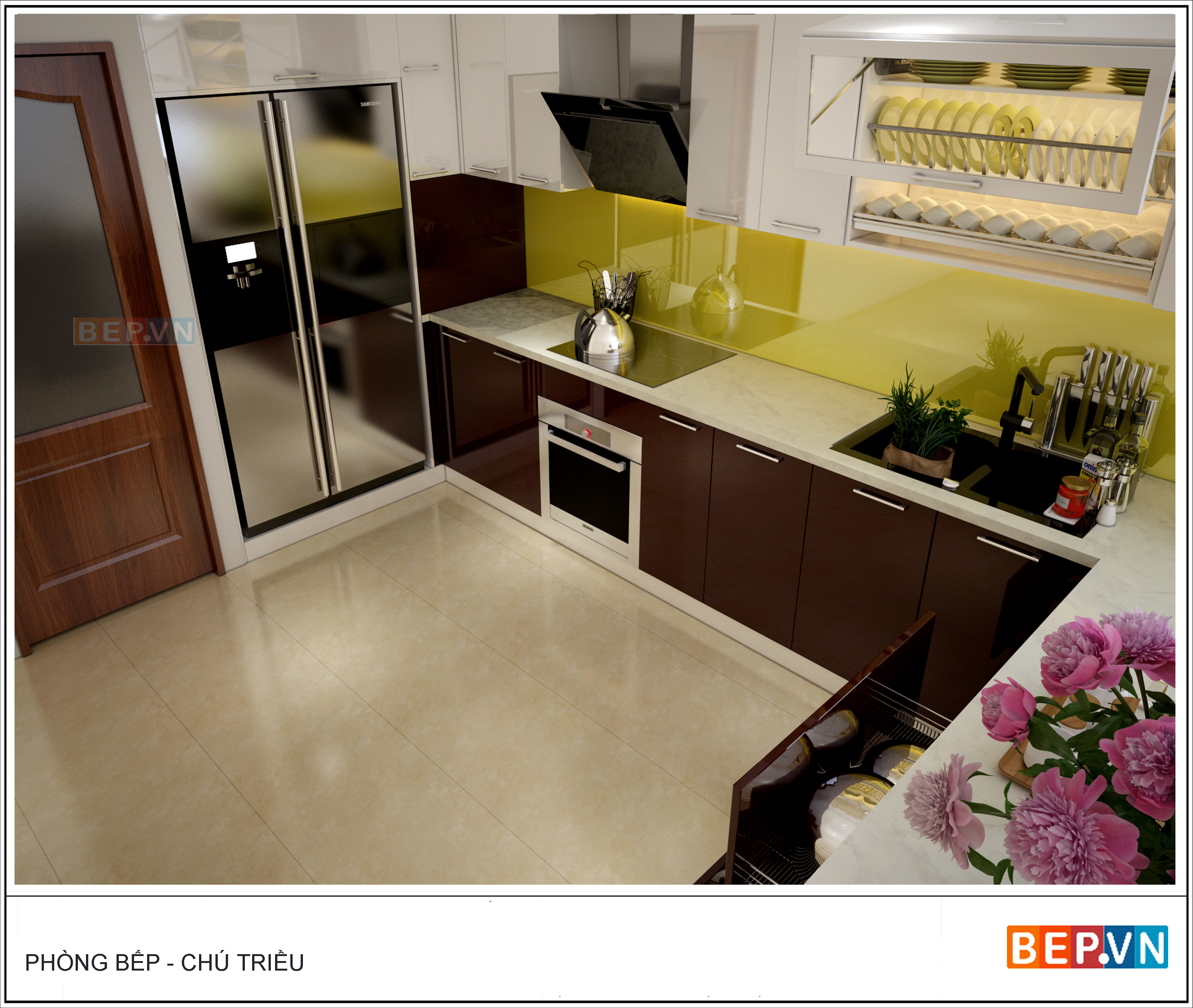 mẫu thiết kế tủ bếp nhỏ hẹp gia đình chú Triều