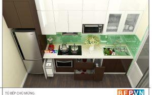 Thiết kế tủ bếp Acrylic thẳng gia đình chú Mừng