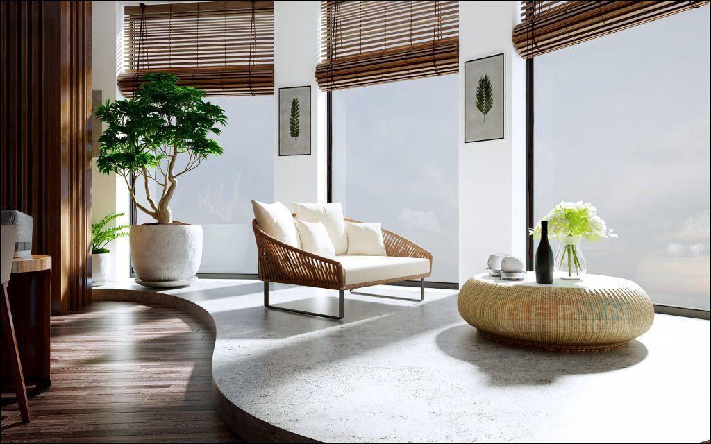 Thiết kế cửa kính thay các bức tường giúp không gian phòng khách luôn thoáng đãng và nhận được ánh sáng tự nhiên.