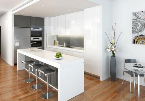 Gạch lát nhà bếp đẹp với phong cách đơn giản
