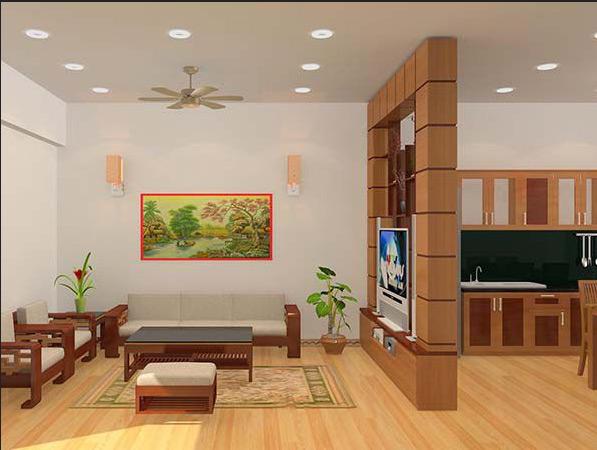 Không gian bếp được thiết kế thông với phòng khách