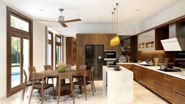 Kiến trúc nhà bếp được thiết kế rộng