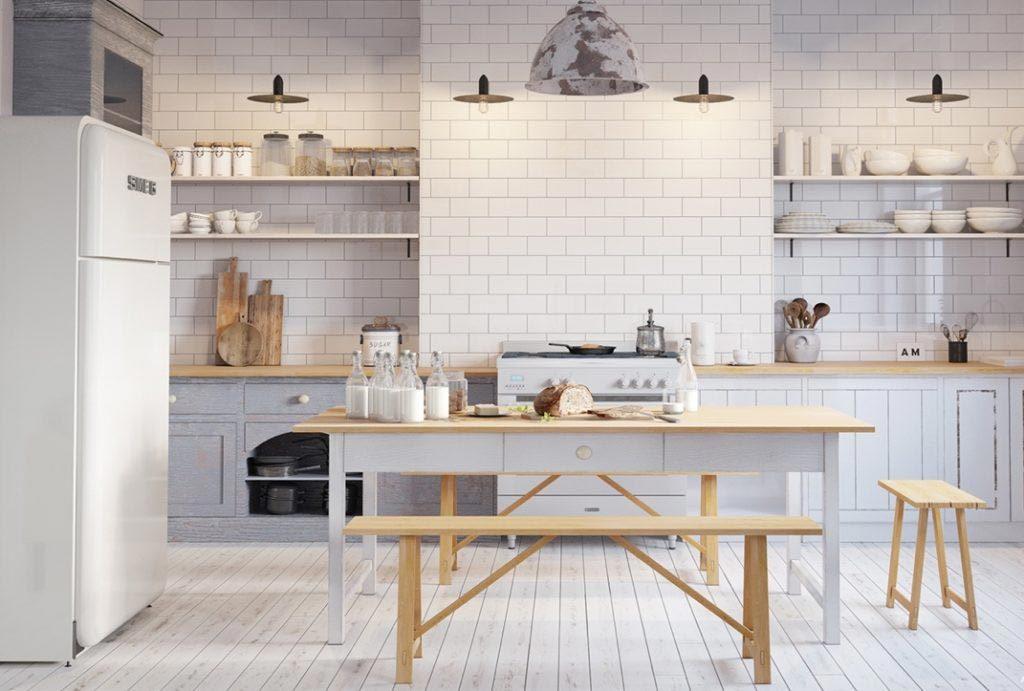 Mẫu gạch lát tường cho nhà bếp mang phong cách cổ điển
