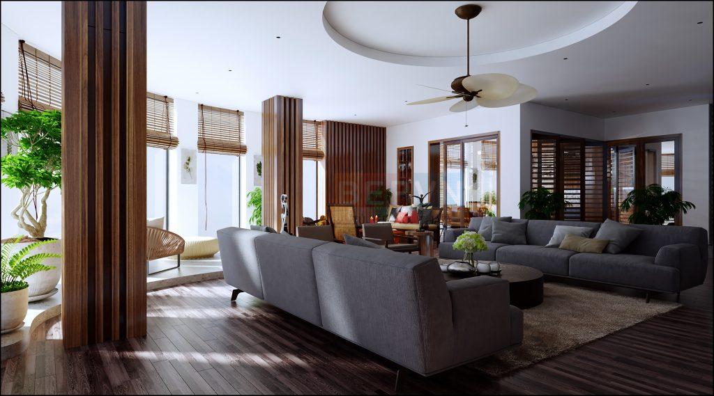 THiết kế phòng khách có ưu  điểm về diện tích và không gian rộng rãi thoải mái.