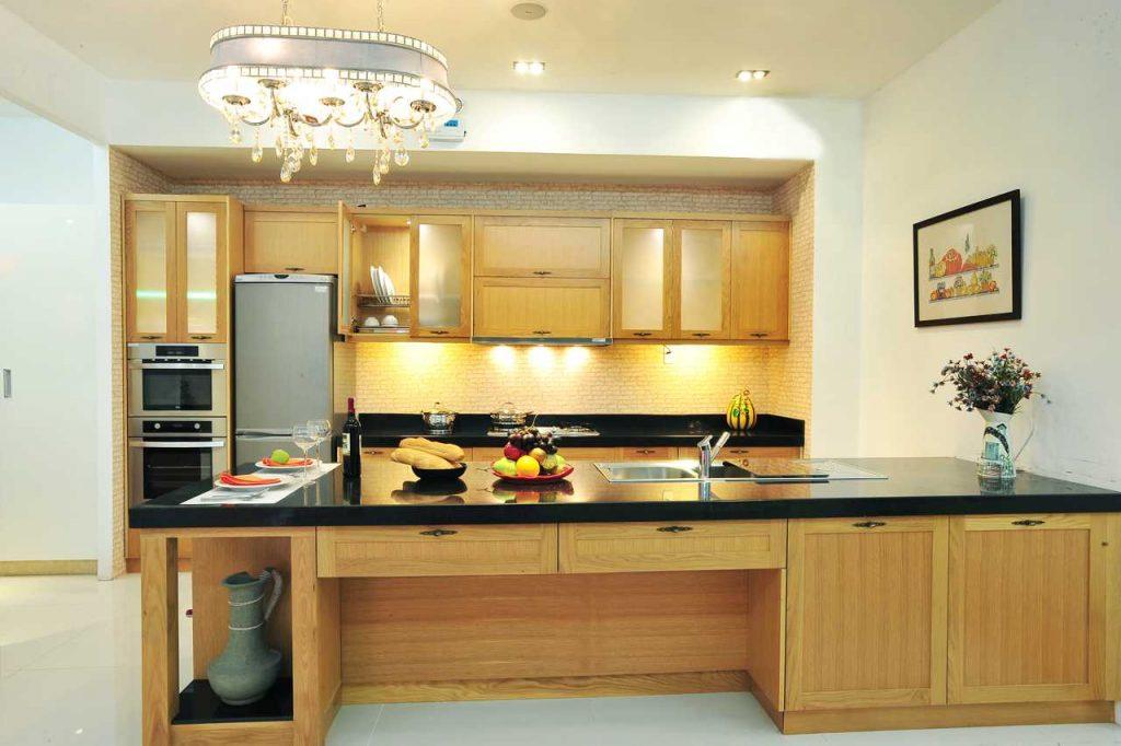 Sử dụng chất liệu gỗ để trang trí nội thất cho bếp