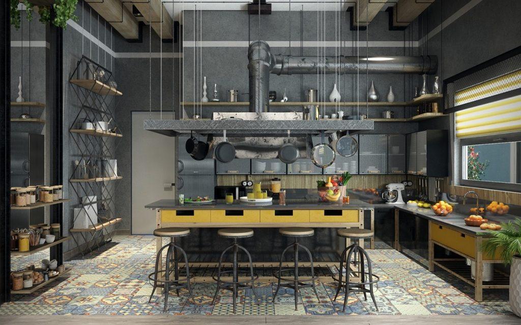 thiết kế nhà bếp phong cách công nghiệp