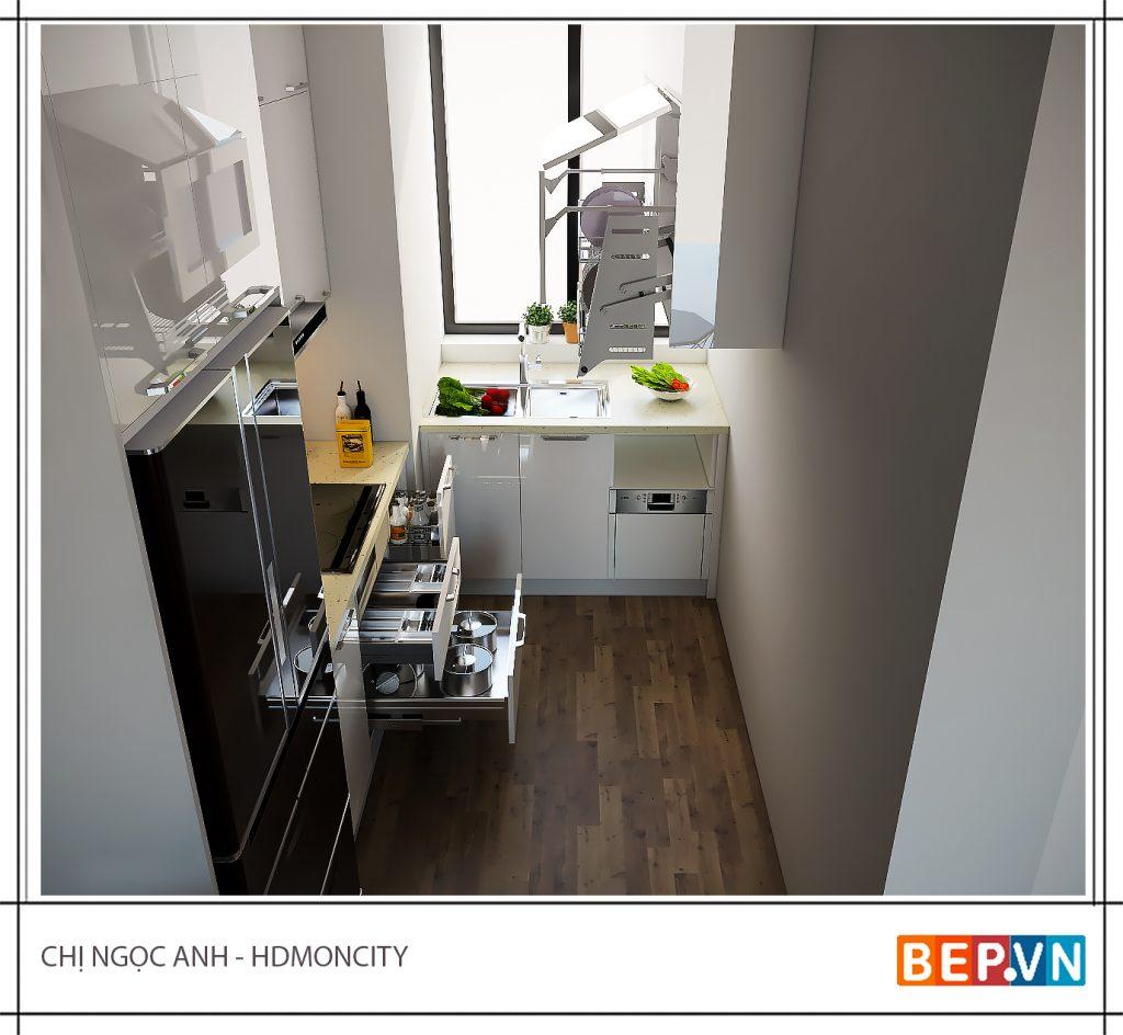 Nhà bếp nhỏ xinh phong cách đơn giản cổ điển