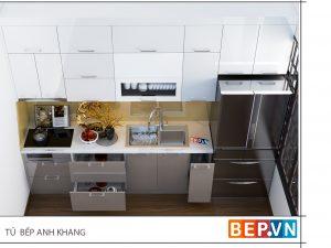 Tủ bếp Acrylic chữ I gia đình anh Khang
