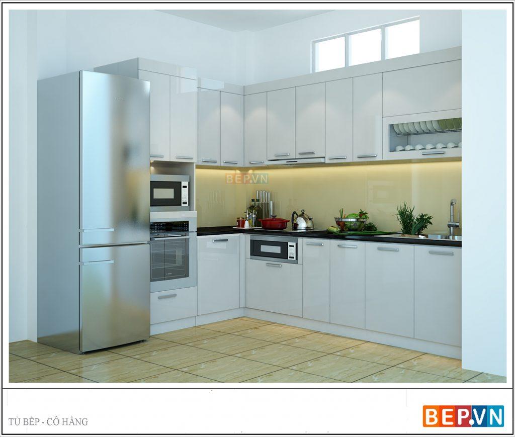 Sử dụng tủ bếp Acrylic bóng gương sang trọng