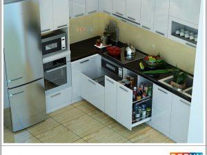 Tủ bếp Acrylic chữ L gia đình cô Hằng