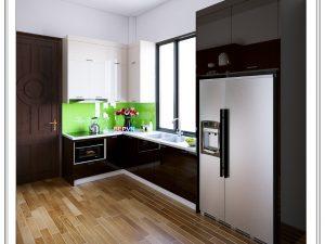 Tủ bếp Acrylic chữ L gia đình chị Yến