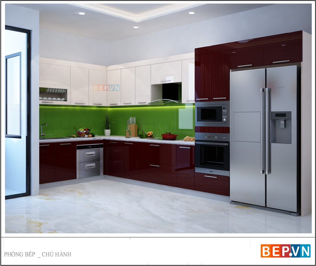 Sử dụng 2 gam màu đối lập mang lại sự độc đáo và mới lạ cho thiết kế tủ bếp acrylic chữ L