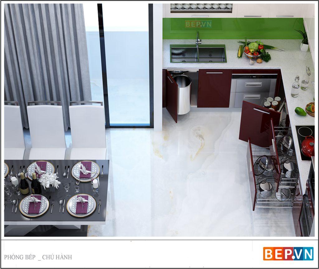 Phòng ăn và nhà bếp tích hợp vừa tiện lợi lại tiết kiệm diện tích.