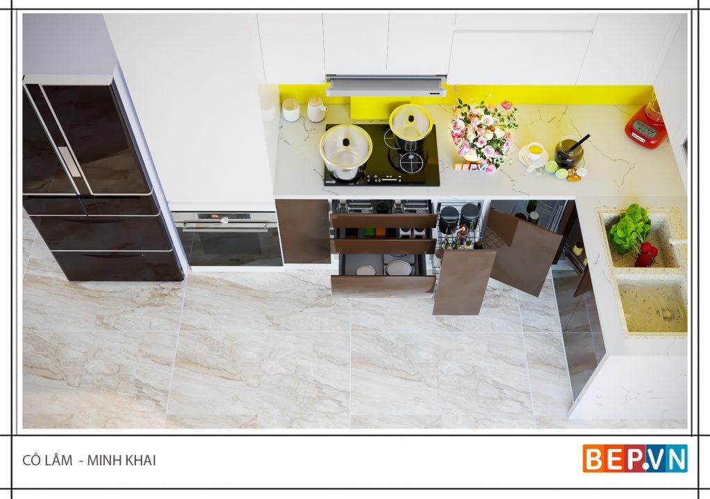 Thiết kế tủ bếp đẹp nhà cô Lâm