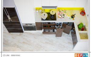 Thiết kế tủ bếp chữ L nhà cô Lâm