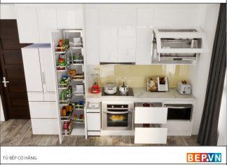 Thiết kế tủ bếp đẹp hiện đại nhà cô Hằng