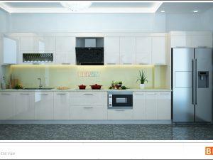 Tủ bếp Acrylic thẳng gia đình chị Vân