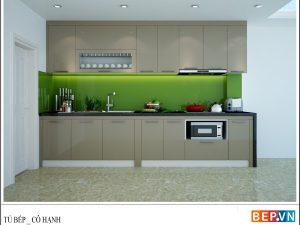 Tủ bếp Acrylic chữ I gia đình chị Hạnh