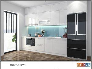Tủ bếp Acrylic chữ I gia đình chú Võ