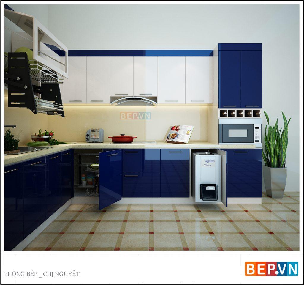 mẫu nhà bếp đẹp đơn giản với tủ bếp gỗ công nghiệp
