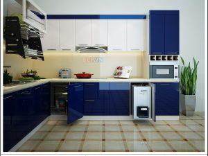 Tủ bếp Acrylic chữ L gia đình chị Nguyệt