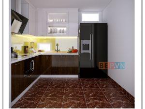 Tủ bếp Acrylic chữ L gia đình anh Tuấn