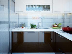 Tủ bếp Acrylic chữ L gia đình cô Dung